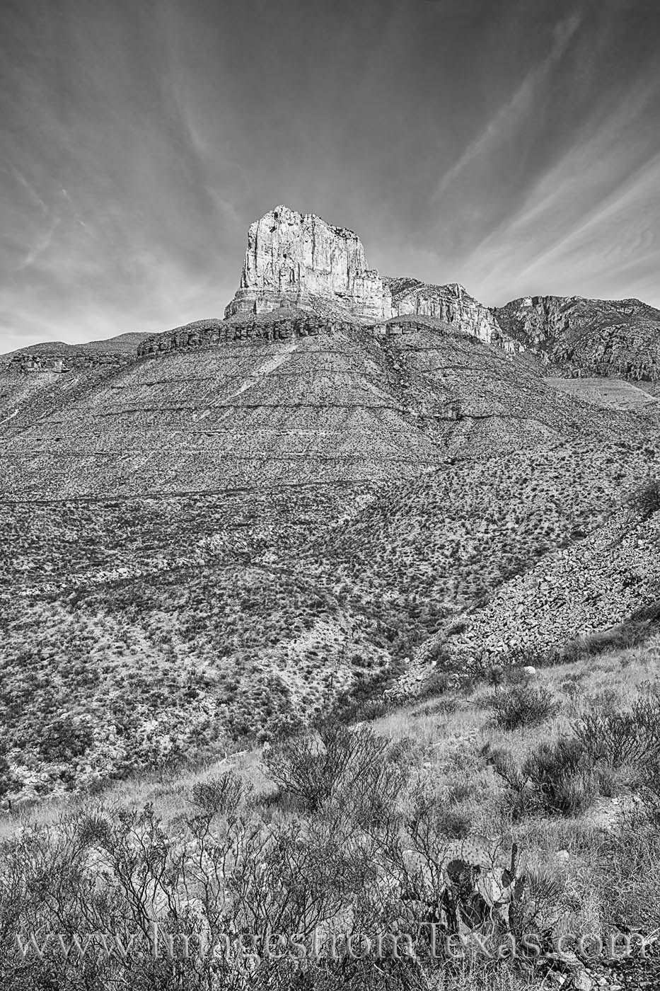 el capitan, guadalupe mountians, texas mountains, west texas, texas landscapes, chihuahuan desert, national park, texas parks, black and white, photo