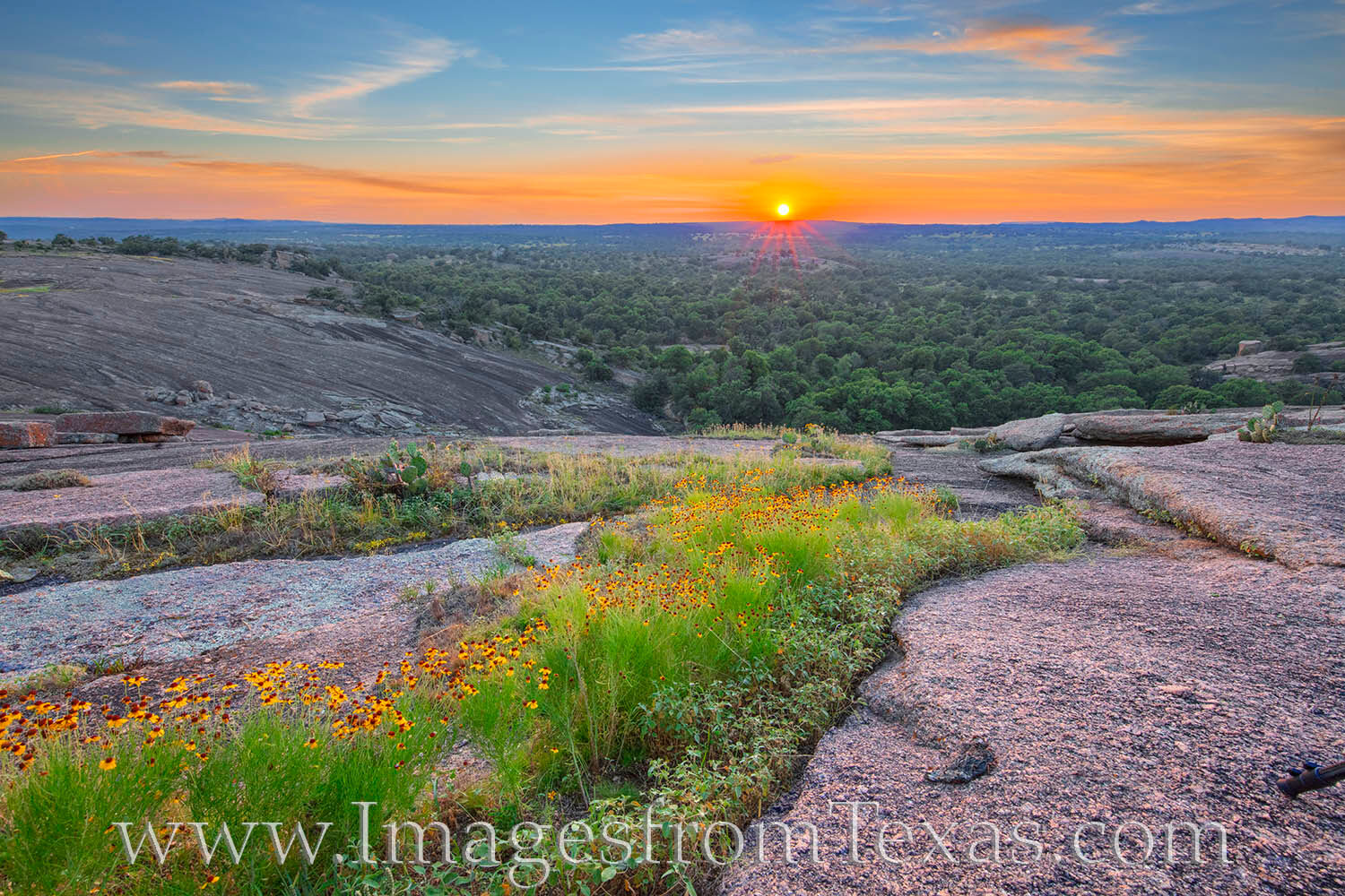 From Enchanted Rock State Natural Area, this view comes from Little Rock, a mound of granite just southwest from Enchanted Rock...