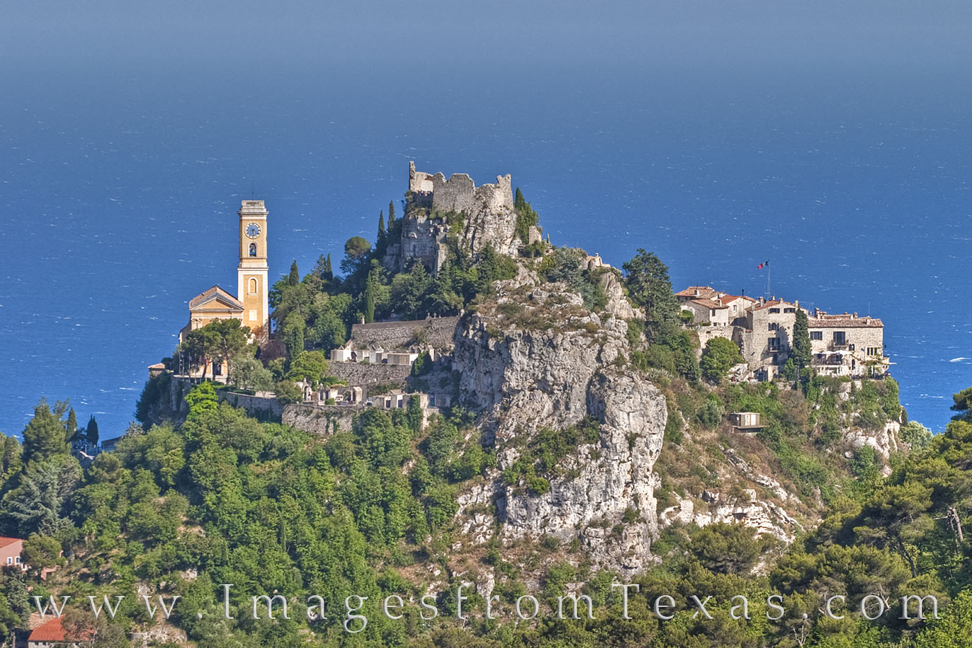 eze, france, castle, french riveria, village, hilltop town, turrett, nice, Mediterranean, Sea, ocean, blue, photo