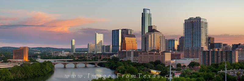 austin skyline pano,austin texas pano,lady bird lake,austin sunrise images, photo
