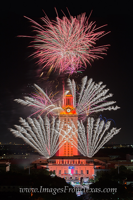 UT Tower fireworks,Texas Tower fireworks,UT Campus,UT graduation ceremony images, photo