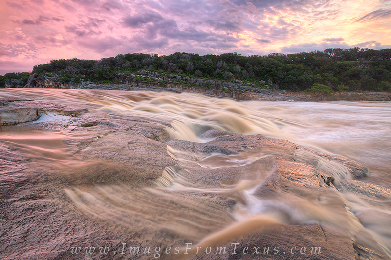 Step carefully when the Pedernales River is flowing like this. Sunrise at Pedernales Falls State Park on this morning offered...