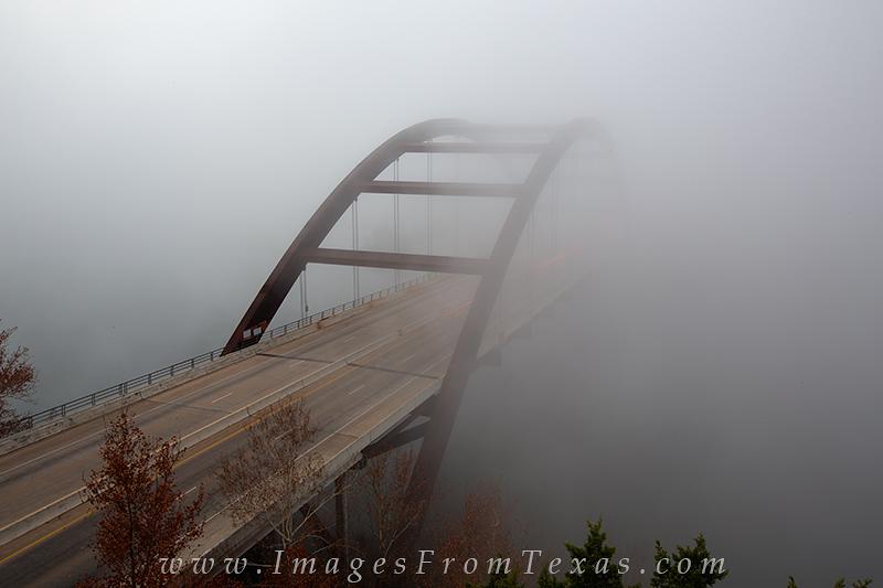360 bridge in fog,360 bridge fog,pennybacker bridge in fog,austin bridge images, photo