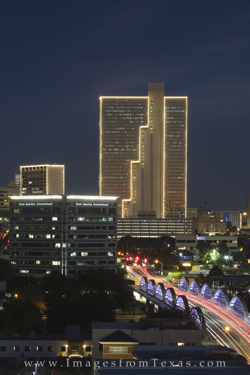 fort worth skyline photos, downtown ft worth, ft worth high rises, 7th street bridge, burnett plaza, photo