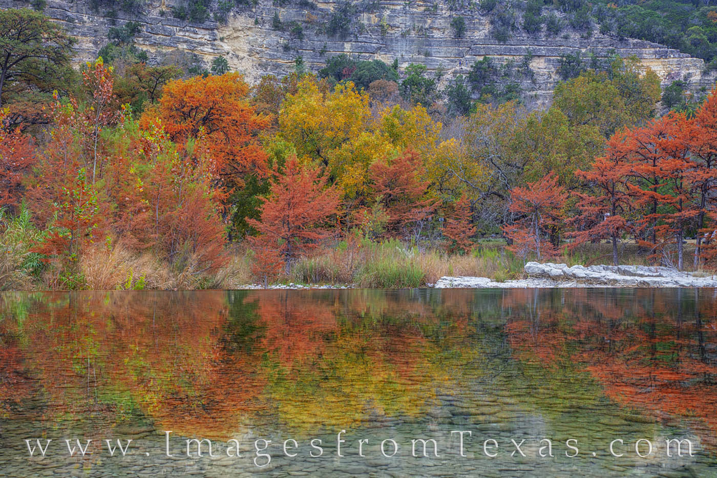 Frio River Autumn Reflection 1112-1