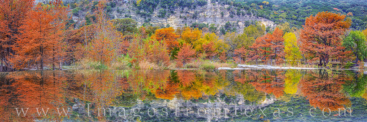 Frio River, Fall colors, garner state park, spillway, cypress, autumn, red, orange, gold, morning, photo