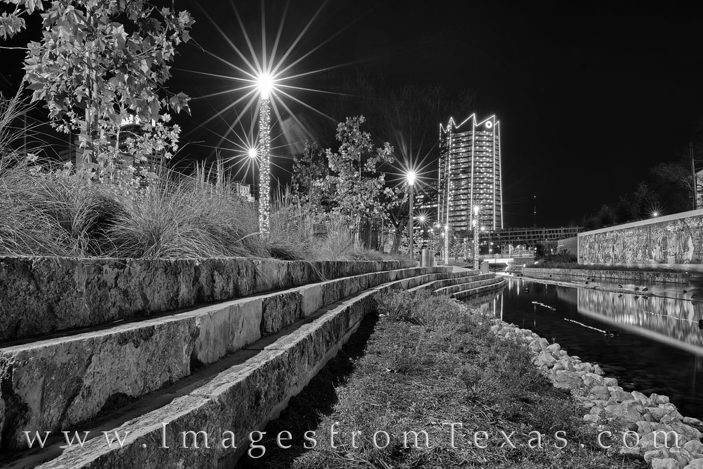 frost tower, san antonio, san pedro creek, mural, culture park, skyline, water, reflection, high rise, west, night, black and white, photo