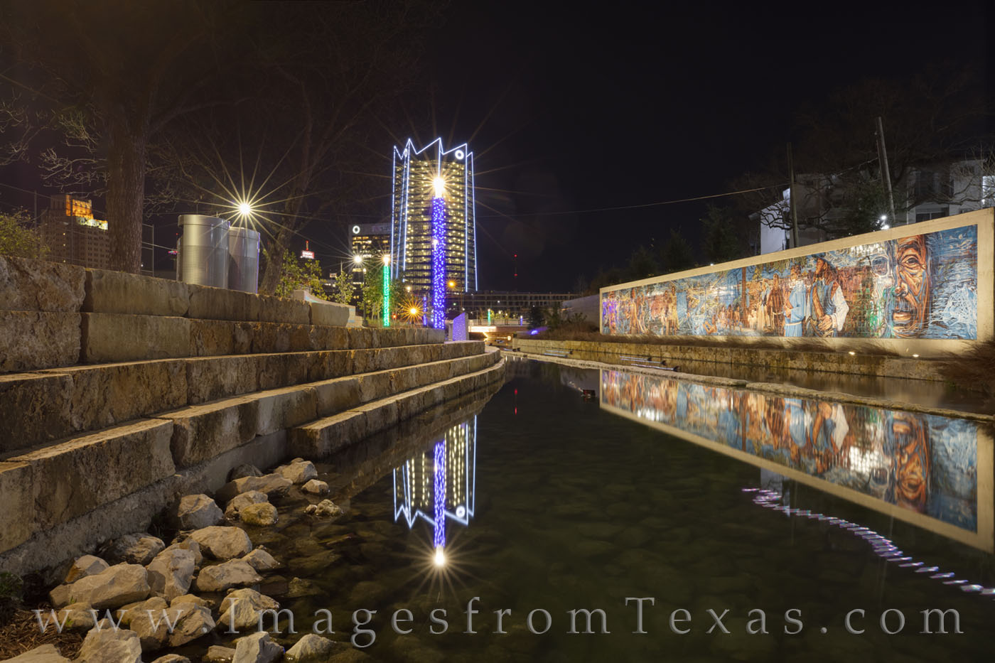 frost tower, san antonio, san pedro creek, mural, culture park, skyline, water, reflection, high rise, west, night, photo