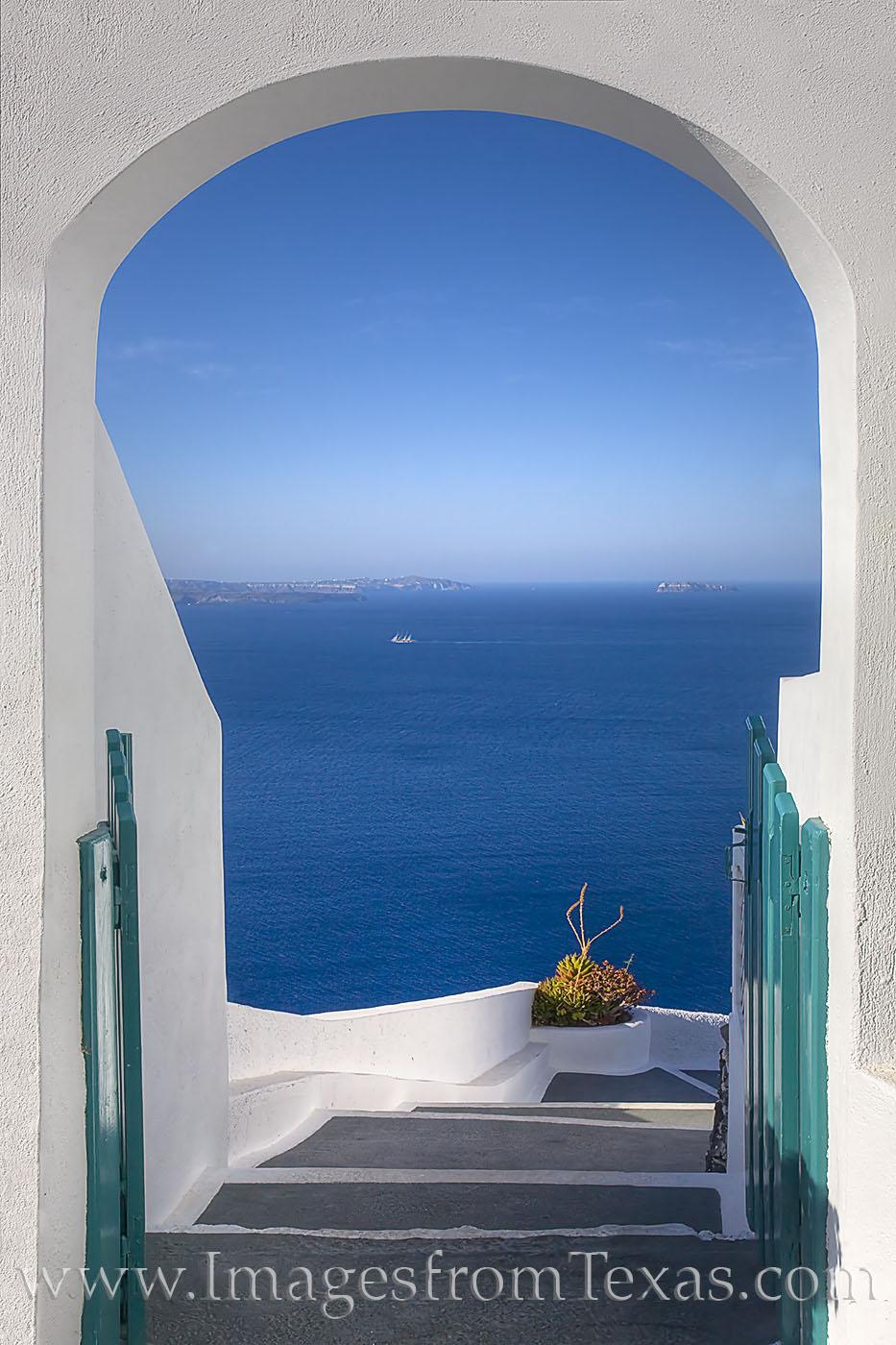 oia, santorini, greek islands, aegean, caldera, ocean, blue, doorway, escape, greece, holiday, photo
