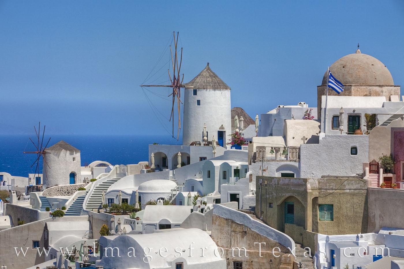 greece, oia, santorini, afternoon, summer, windmills, blue, greek islands, island, travels, photo