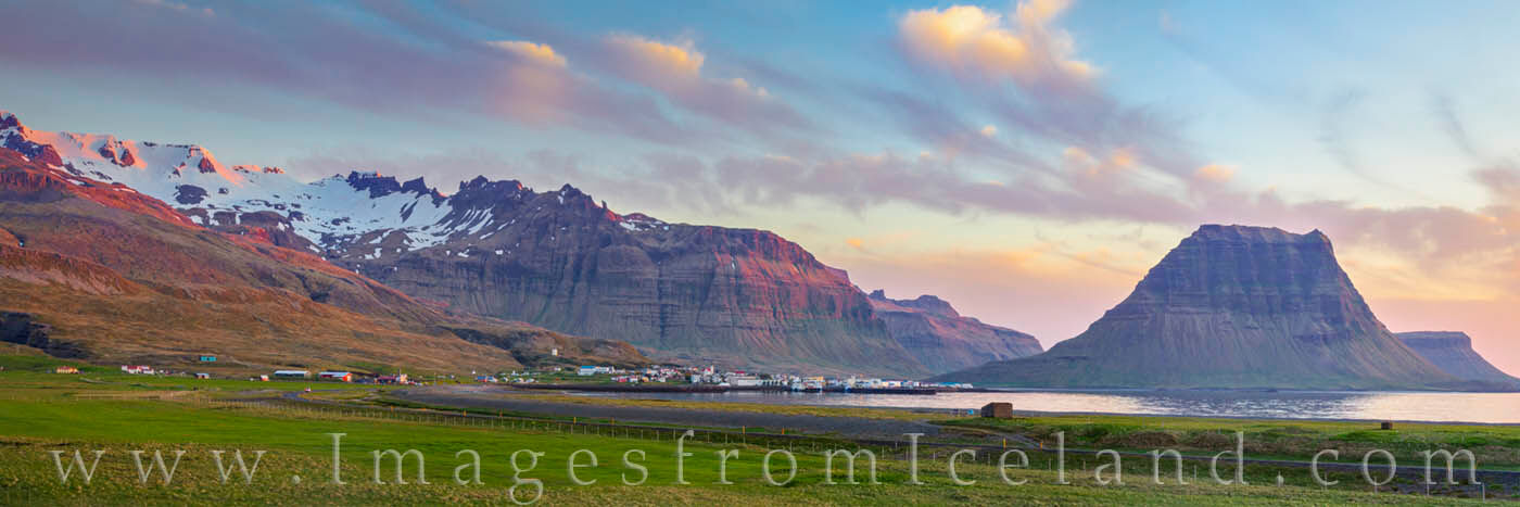 Taken from the east, this panorama shows the small, lovely village of Grundarfjörður with the iconic Kirjufell Mountain in...