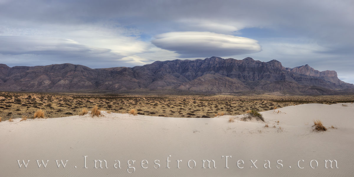 guadalupe mountains, salt basin, sand dunes, lenticular cloud, guadalupe mountains national park, sand, guadalupe peak, el capitan, photo