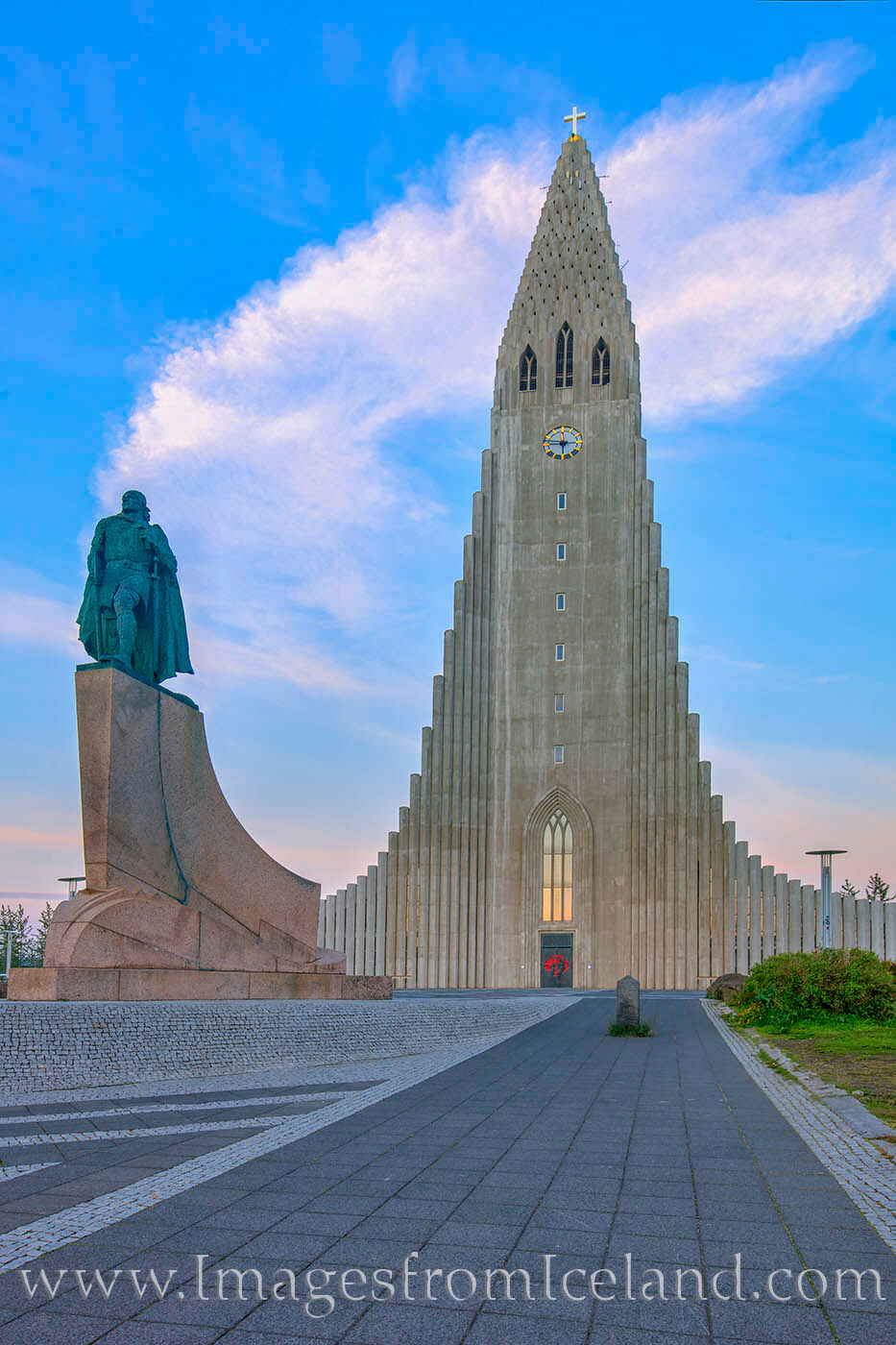 Hallgrímskirkja and the statue Leifur Eiríksson rest at the top of Iceland's capital city, Reykjavic. Taken at 11:47pm, the...