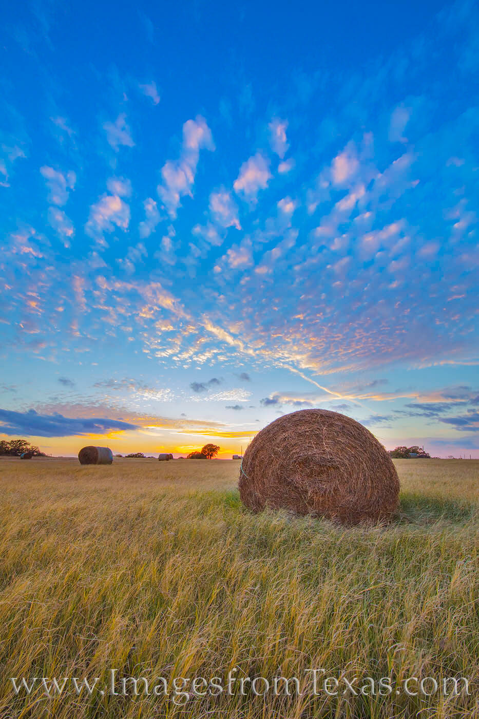 On a cool November evening, the sky adds a subtle magnificence to a pature with hay bales ready for the winter.