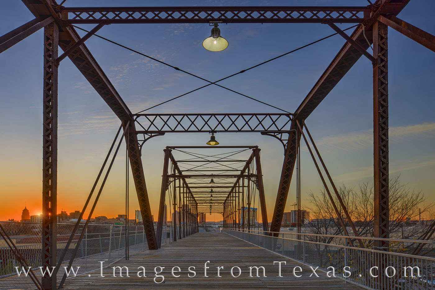 hays street bridge, san antonio, skyline, sunset, december, east side, photo