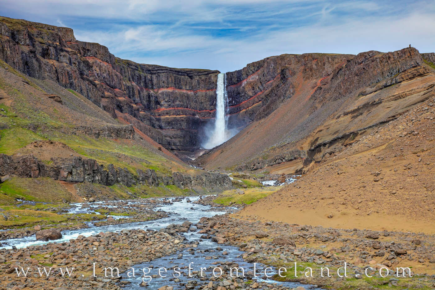 Hengifoss is the 3rd highest waterfall in Iceland and plummets 420 feet. It is located in Hengifossá in Fljótsdalshreppur...
