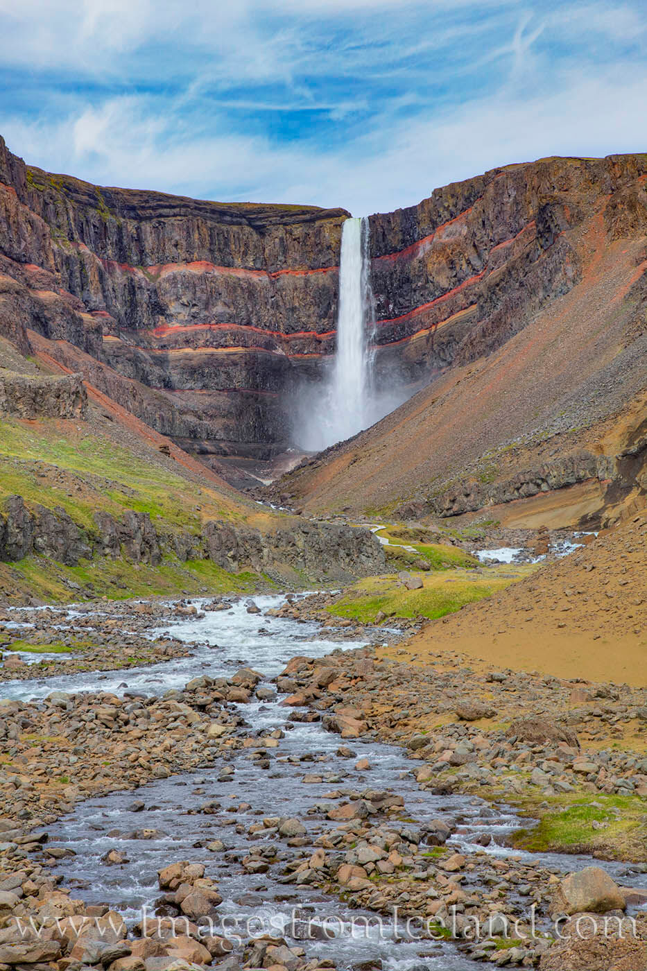 Located in east Iceland, Hengifoss is Iceland's 3rd tallest waterfall, falling about 420'. The hike up is about 1.3 miles each...