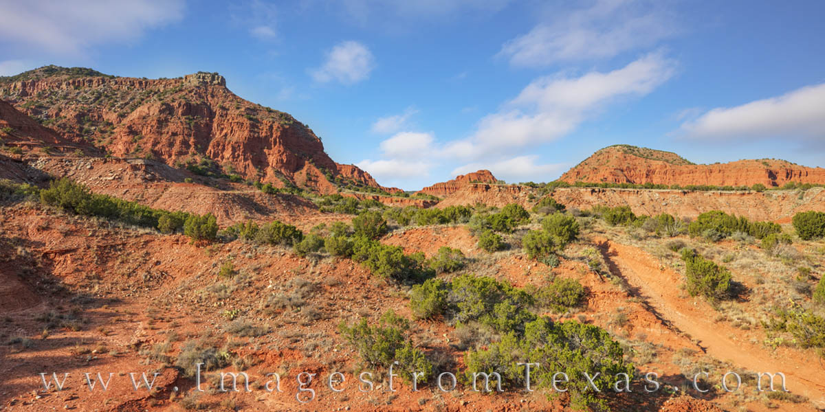 caprock canyons, state park, hiking, west texas, panhandle, morning, orange, desert, panorama, photo