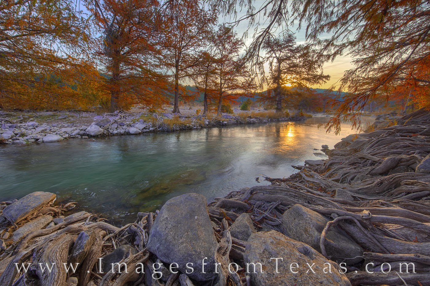 pedernales river, pedernales falls, state park, hill country, sunrise, cypress trees, fall colors, morning, photo