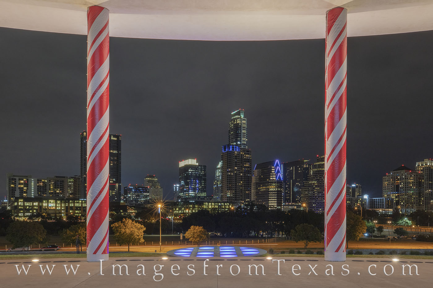 austin skyline, candy cane pillars, long center, austonian, holiday season, christmas, holiday, red and white, downtown, cityscape, zilker, photo