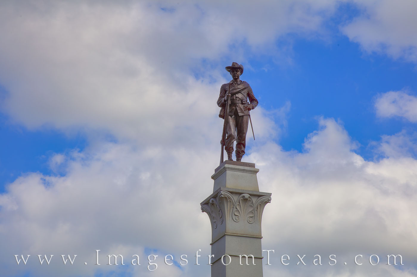 Sculpted by Pompeo Coppini and erected in 1910, the Hood's Texas Brigade Monument shows a Confederate soldier atop a granite...