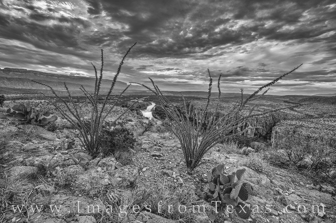 Morning over Hot Springs Canyon in Big Bend National Park in black and white. Taken on a warm October morning around sunrise...