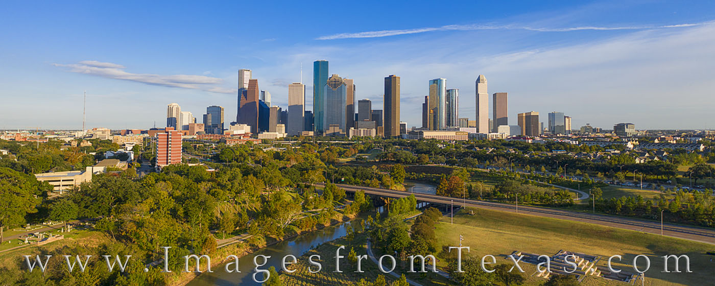 buffalo bayou, houston skyline, afternoon, november, drone, aerial photogaphy, Houston aerial, aerial, blue sky, panorama, photo