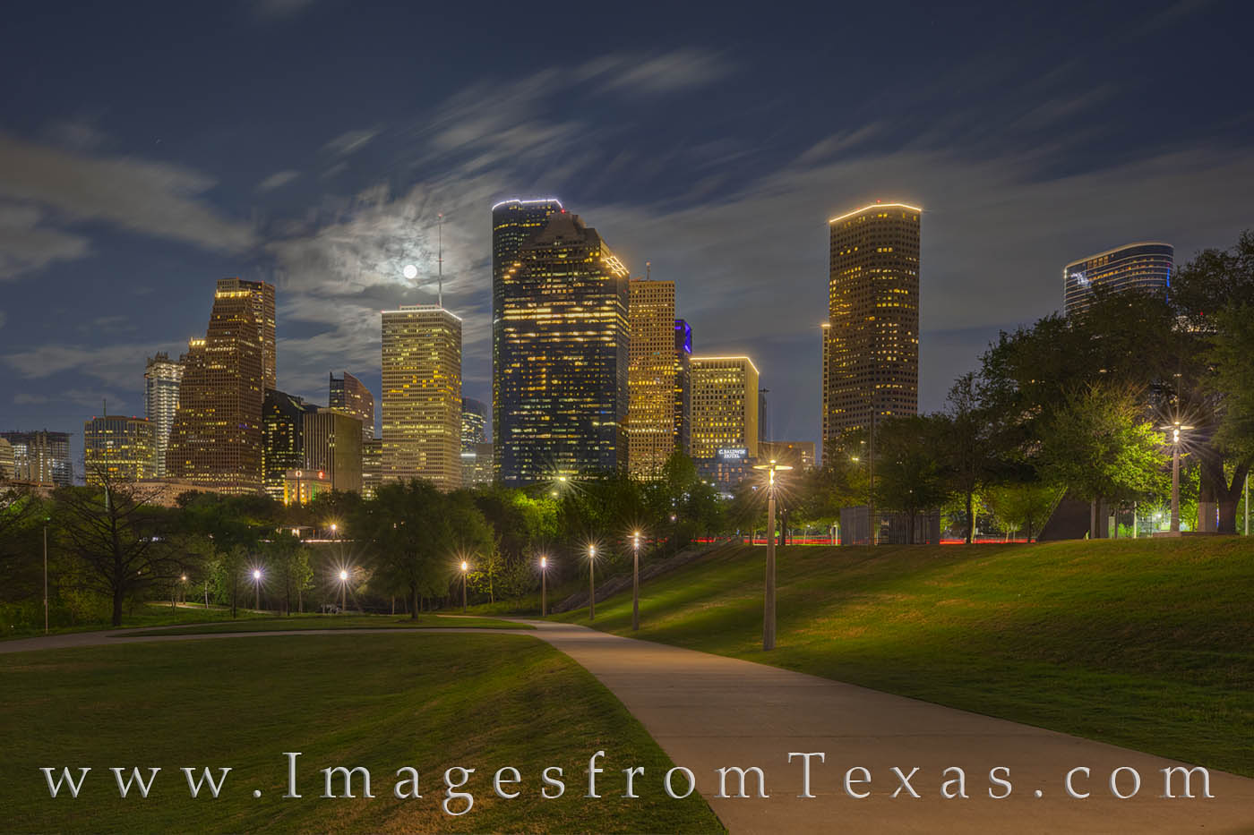 The pathway along the Buffalo Bayou Walk affords some nice views of the downtown Houston skyline. Seen here on a cool Spring...