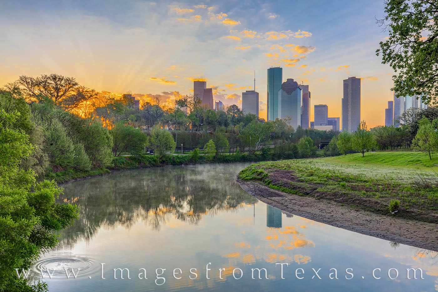 Along the quiet paths near Buffalo Bayou, the downtown area of Houston is quiet and peaceful. Overhead, the sun spreads its first...