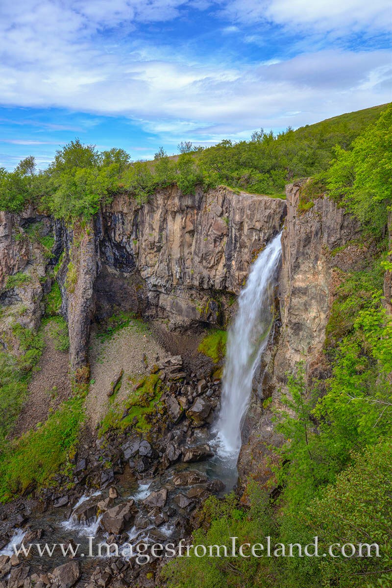 About a mile into the Svartifoss Trail in Skaftafell National Park in southern Iceland, Hundafoss plunges about 82 feet. The...