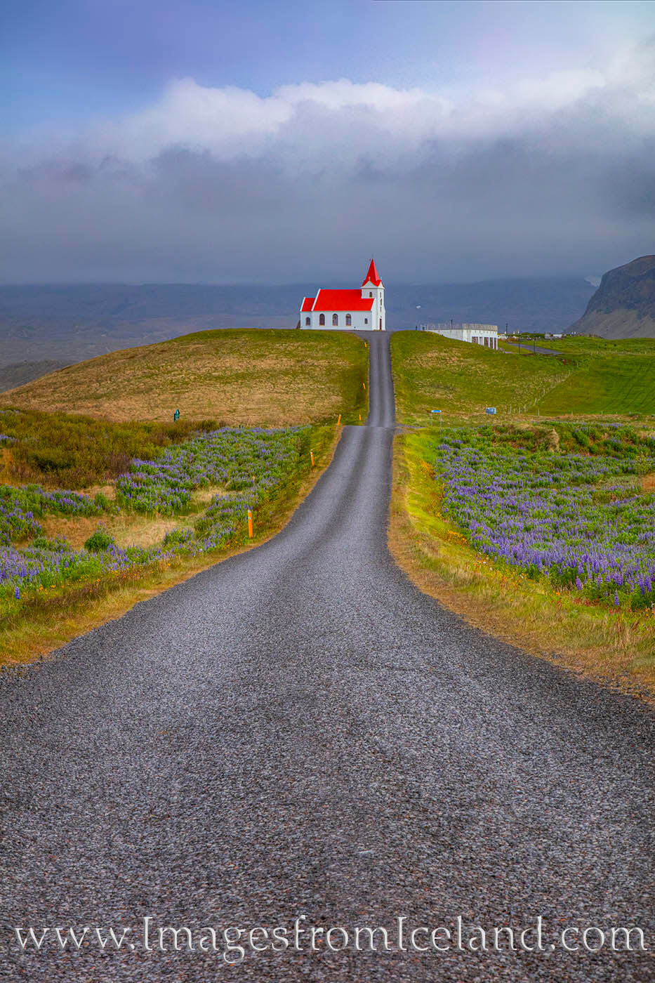 This little red-roofed church sits in the Snæfellsnes peninsula. A nice road leads down and back up a hill with great views...