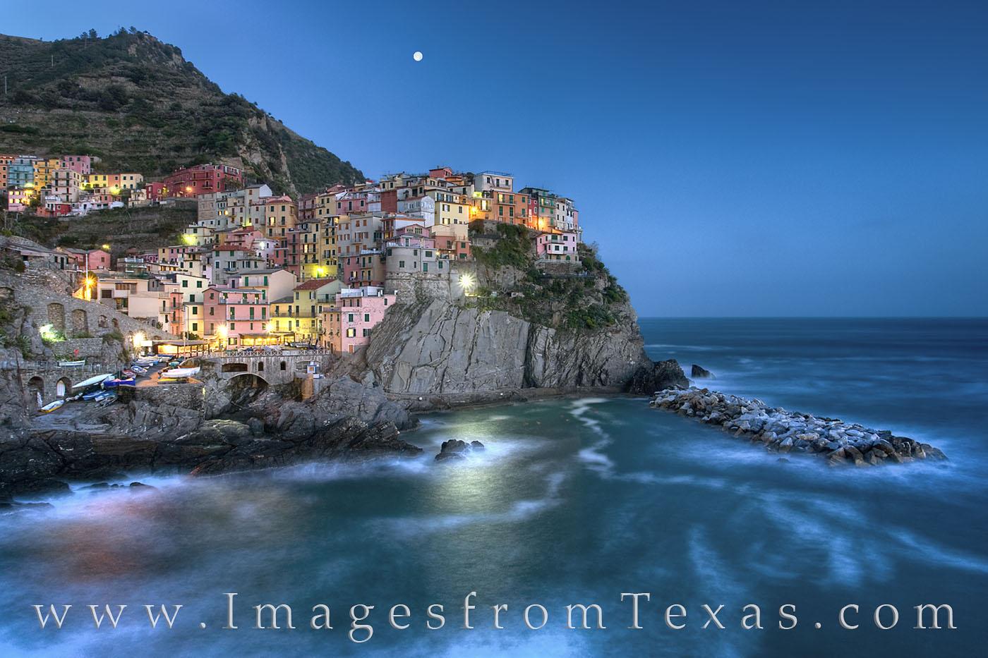cinque terre, italy, manarola, ligurian sea, coast, cliffs, ocean, night, moon, village, photo