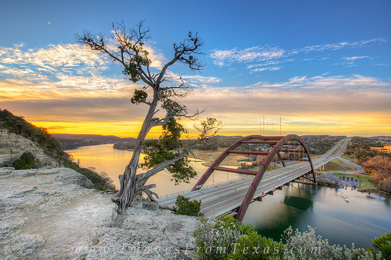 360 bridge images,pennybacker bridge,austin skyline, photo