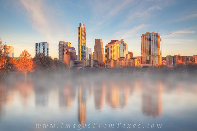 lady bird lake images,austin skyline images,zilker park,fog,skyline reflection,austin texas, photo