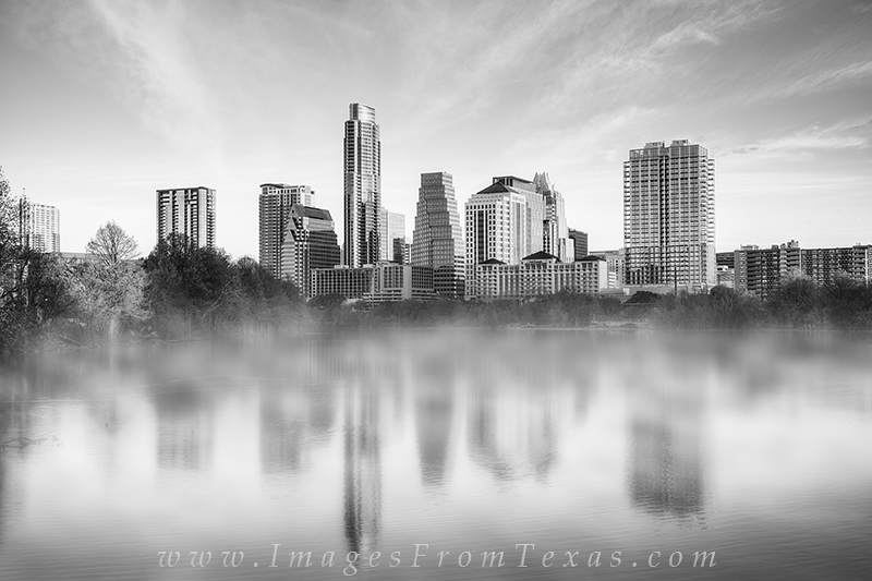 lady bird lake images,austin skyline images,zilker park,fog,skyline reflection,austin texas,black and white, photo