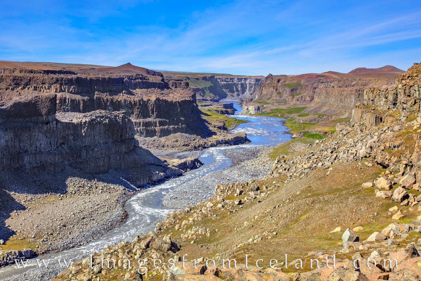 After Dettifoss plummets 144', the water flows north through a small canyon in Vatnajökull National Park on its way to Öxarfj...