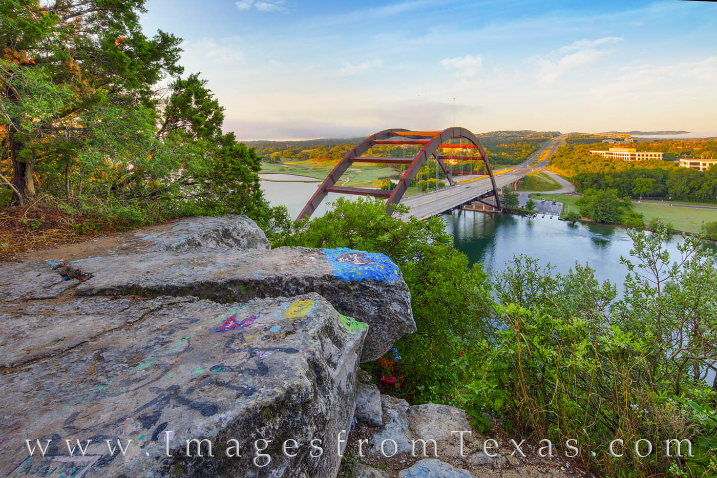 The rocks above the iconic 360 Bridge near Austin, Texas, have been covered in grafitti, but the views are still pretty nice....