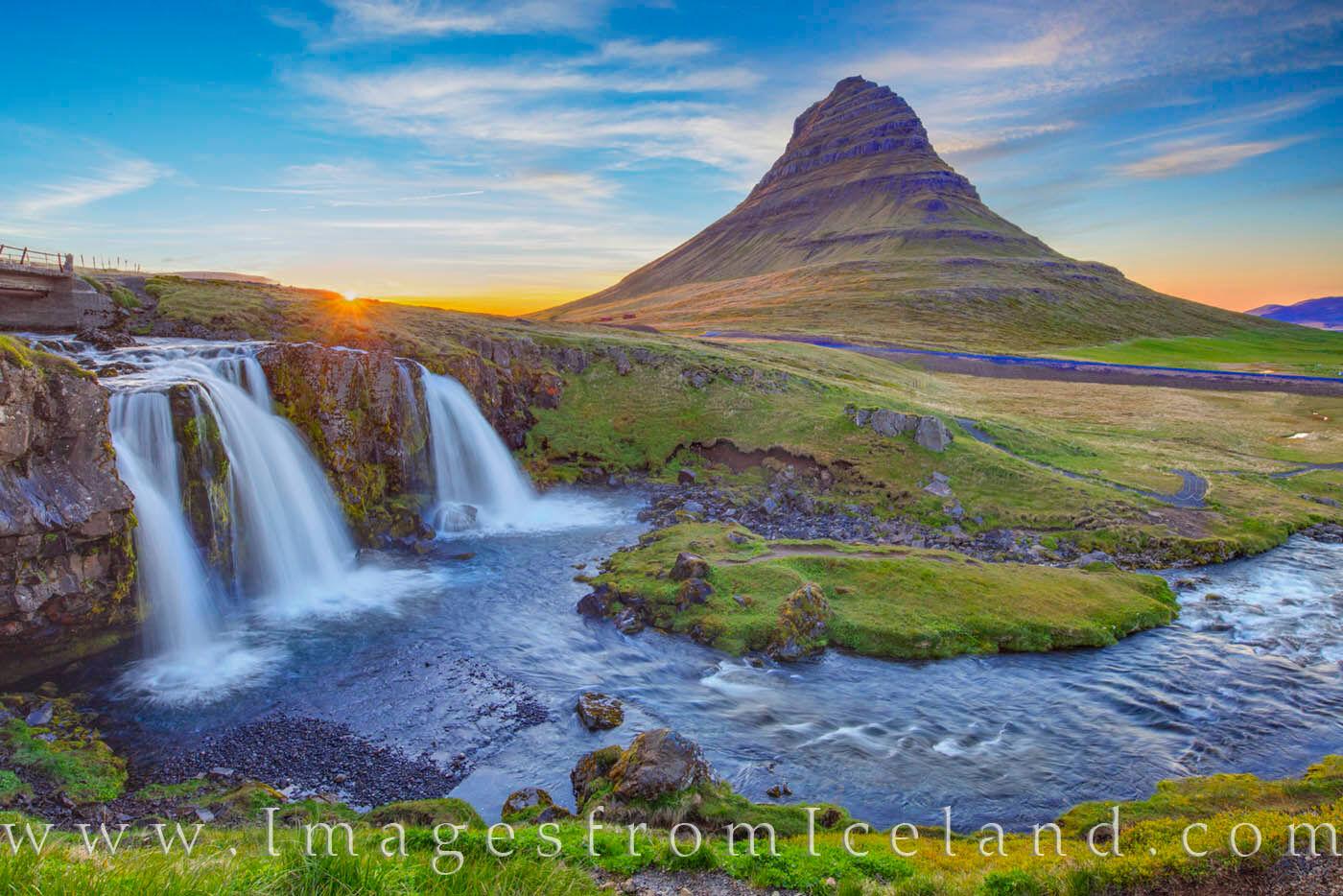 Grundarfjörður, Kirkjufellfoss, Kirkjufell, iceland, waterfall, icon, summer, night, west icelan, iceland prints, travel, Snæfellsnes Peninsula