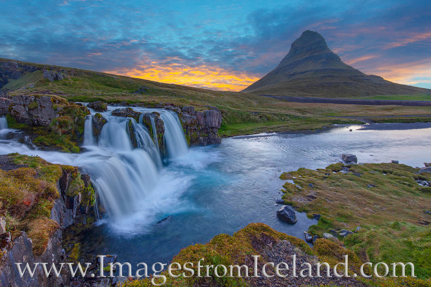 Here is another take on a beautiful night at Kirkjufell Mountain and Kirkjufellfoss (the cascading waterfall). The midnight sun...