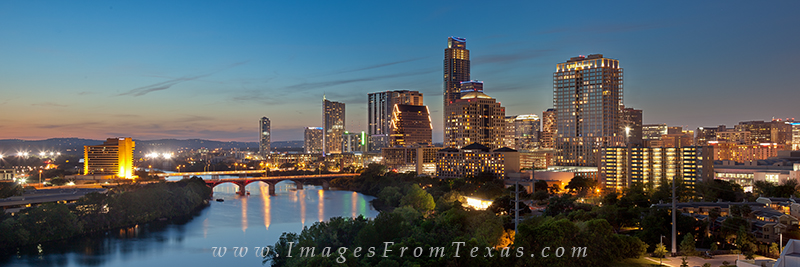 This panorama of the Austin skyline is a stitch of several images. It shows the downtown area and Lady Bird Lake. Spanning the...