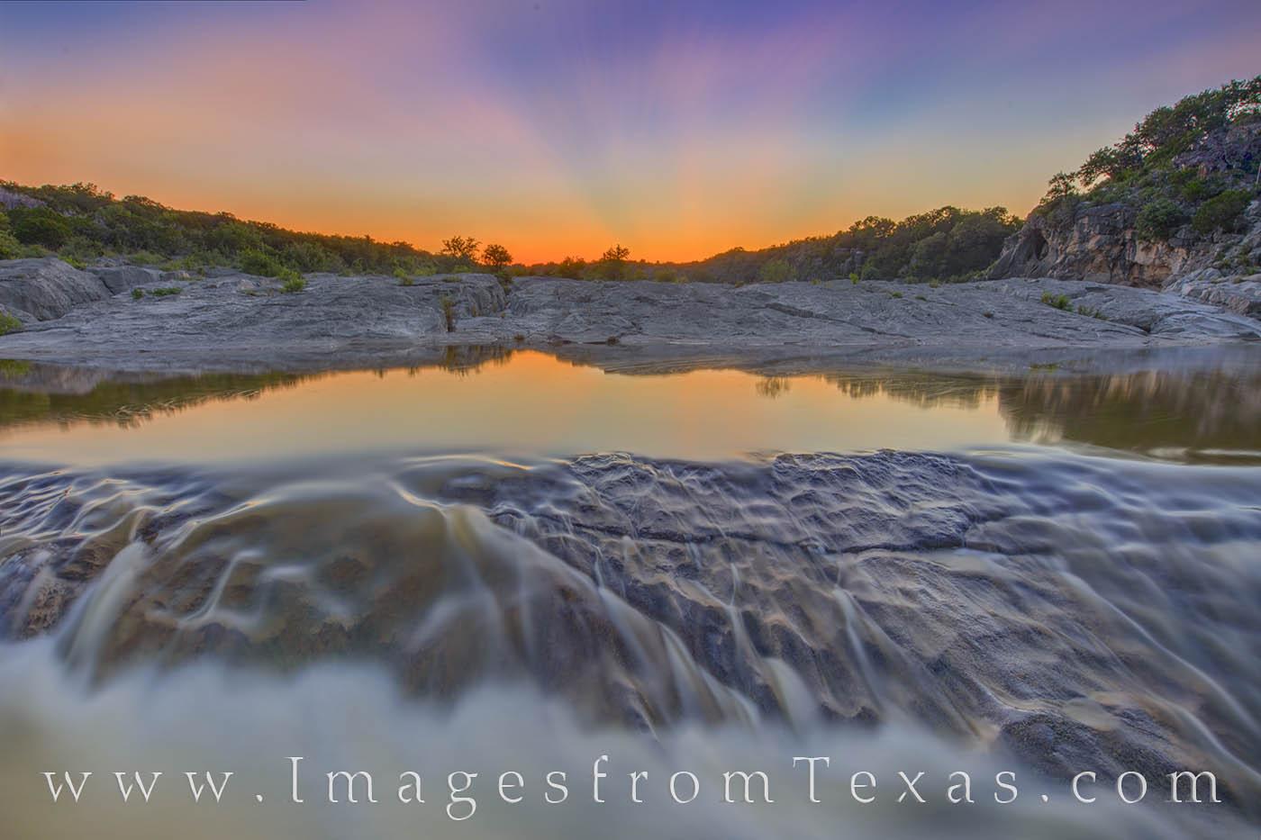 last light, pedernales falls, sunset, cascade, long exposure, sun rays, hill country, beauty, photo
