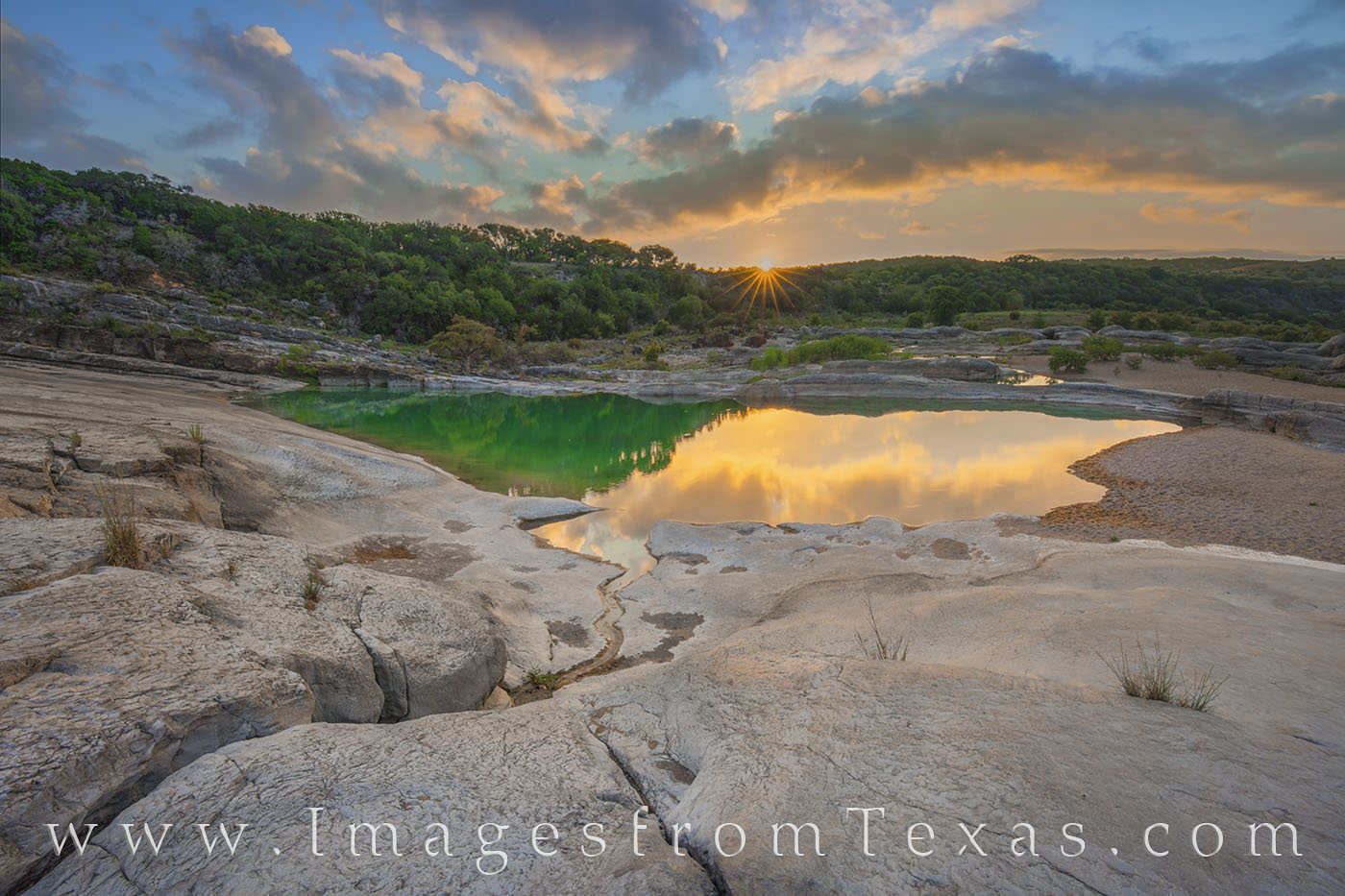 texas hill country, pedernales river, sunrise, pool, sunburst, pedernales falls, state park, august, summer, morning, photo