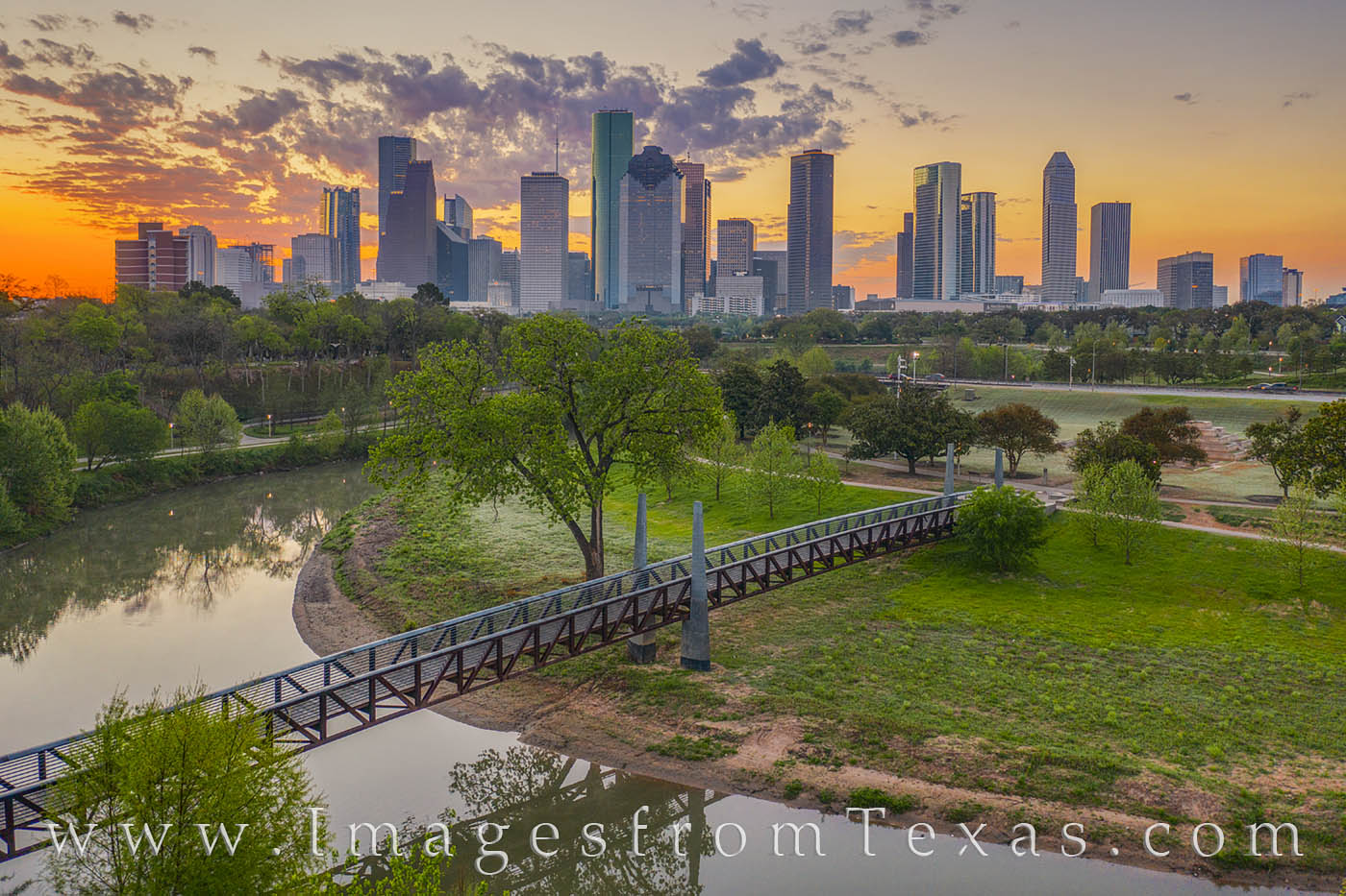 It is amazing what a difference 50 feet can make! This view overlooks Buffalo Bayou toward the downtown area of Houston on a...