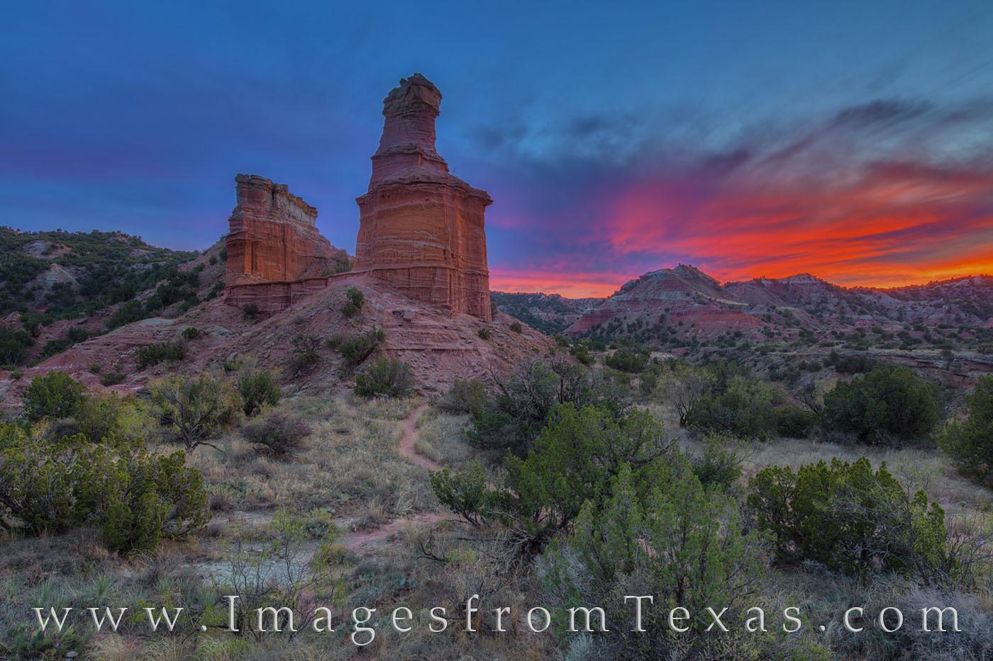 palo duro canyon, lighthouse, icon, hike, lighthouse trail, sunset, autumn, evening, west texas, panhandle, photo