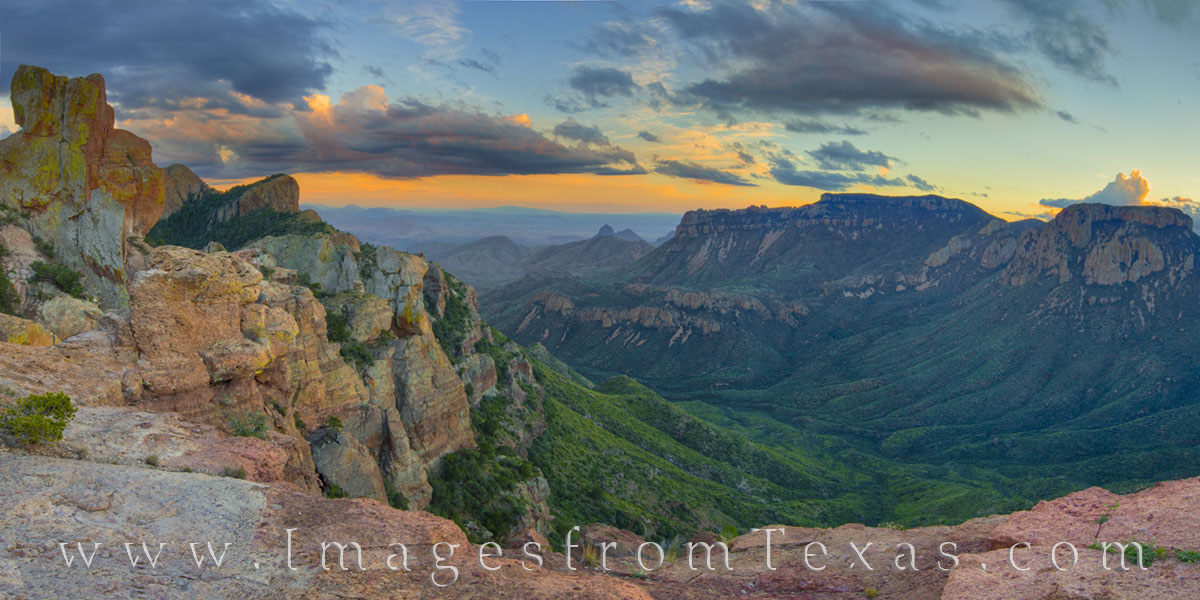 lost mine trail, big bend national park, juniper canyon, casa grande, panorama, sunset, mexico, chihuahuan desert, chisos mountains., photo