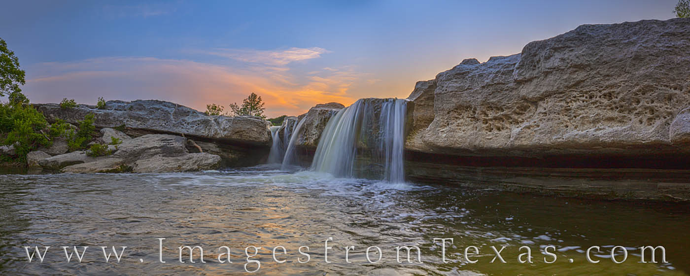 mckinney falls, lower falls, panorama, texas state parks, waterfall, cascade, austin, sunset, prints for sale, photo
