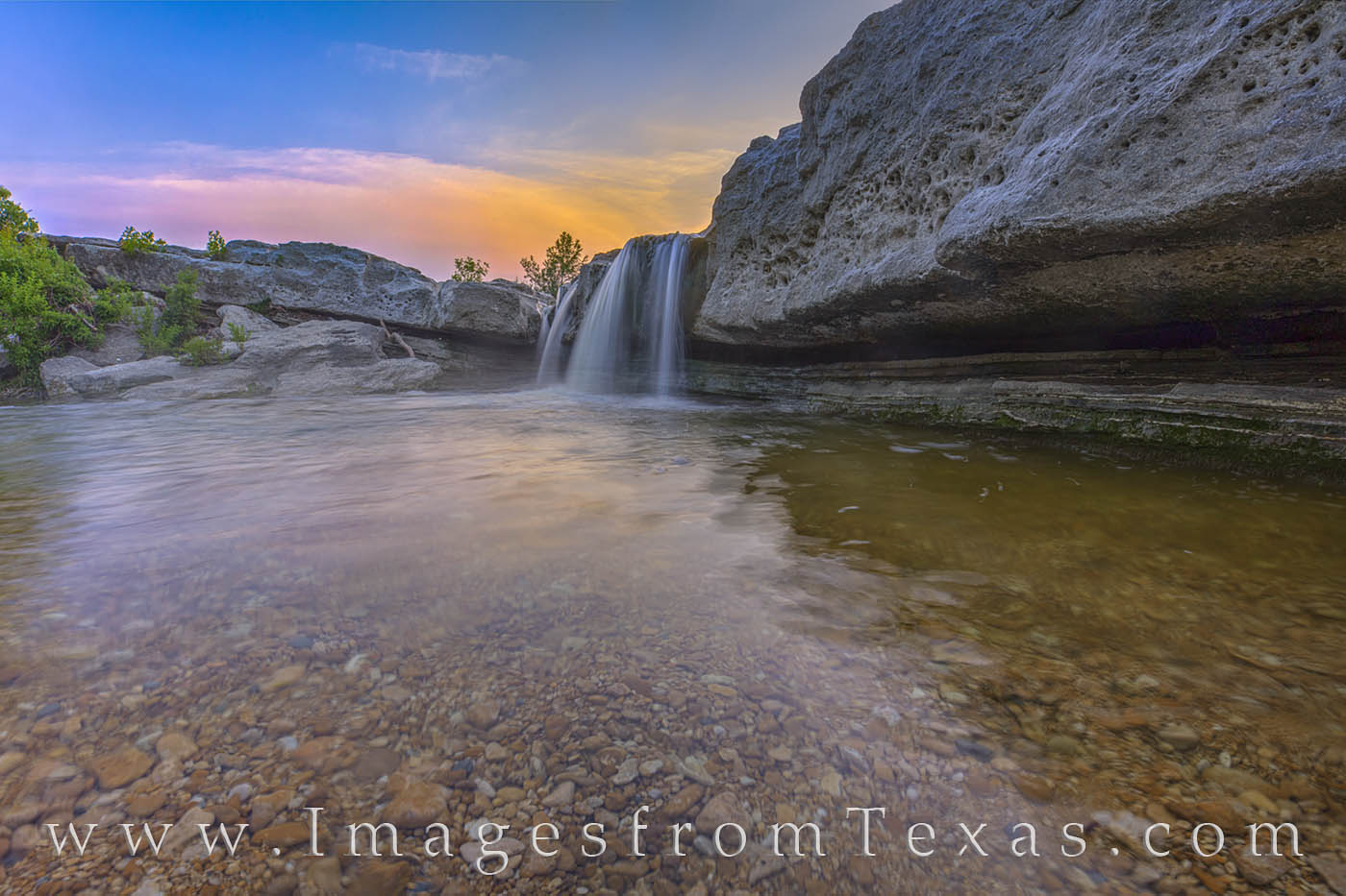lower falls, mckinney falls, austin, texas state parks, summer, sunset, evening, waterfall, cascade, photo