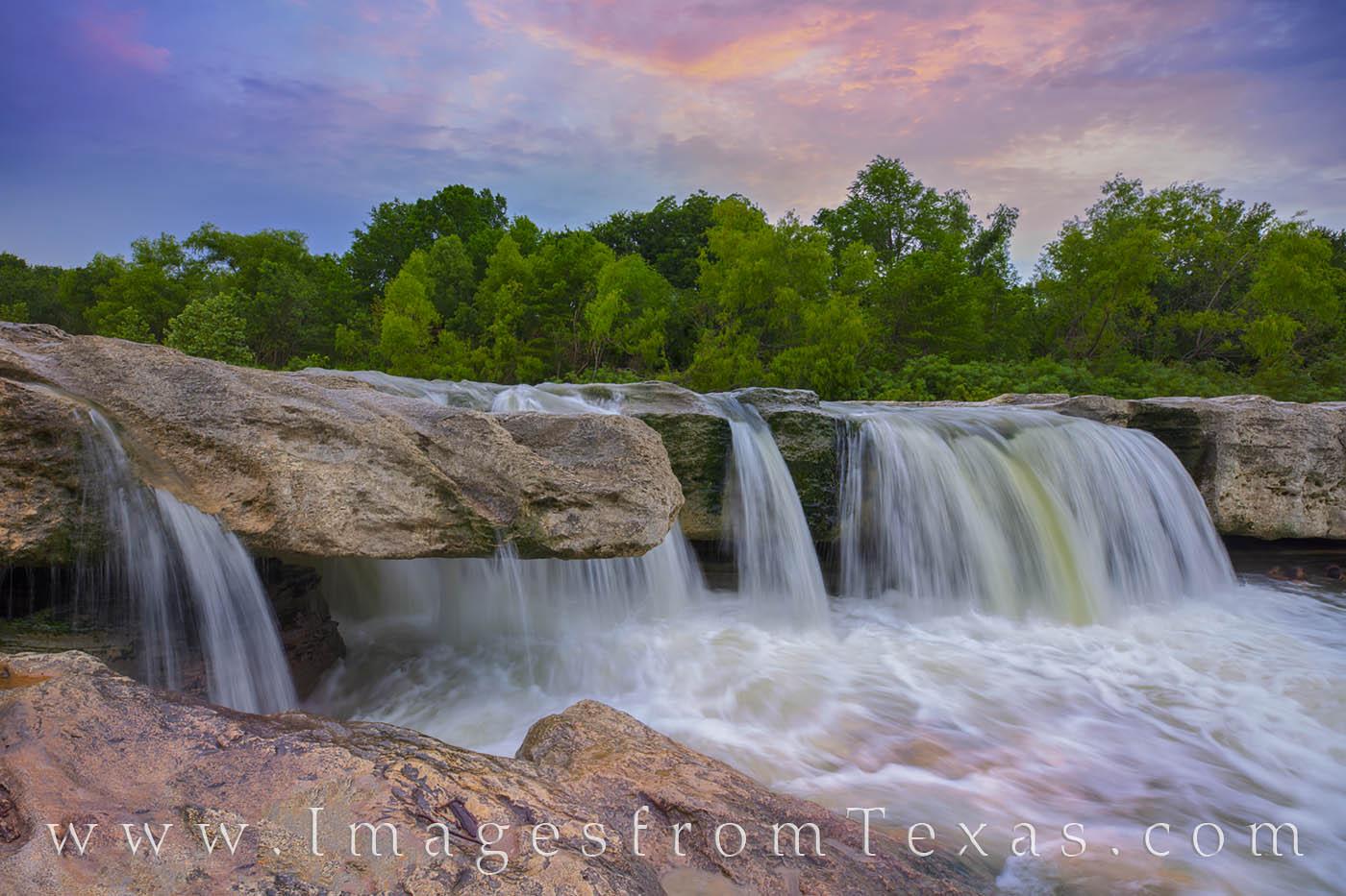 mckinney falls, lower falls, texas state parks, austin, waterfall, sunset, photo