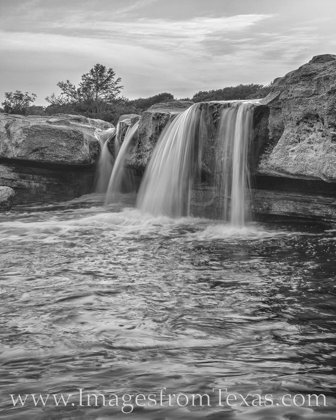 mckinney falls, austin texas, state park, waterfall, black and white, prints for sale, texas black and white, photo