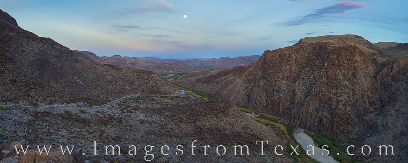 rio grande, big bend ranch, full moon, moonrise, texas, mexico, dom rock, FM 170, panorama, photo